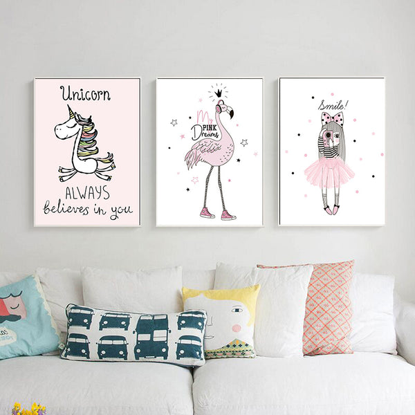 d coration poster toile licorne rose trendisy d coration int rieure. Black Bedroom Furniture Sets. Home Design Ideas