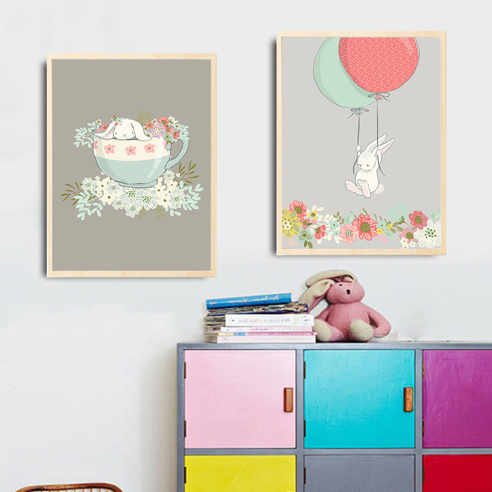 d coration poster toile lapin ballon fleurs roses trendisy d coration int rieure. Black Bedroom Furniture Sets. Home Design Ideas