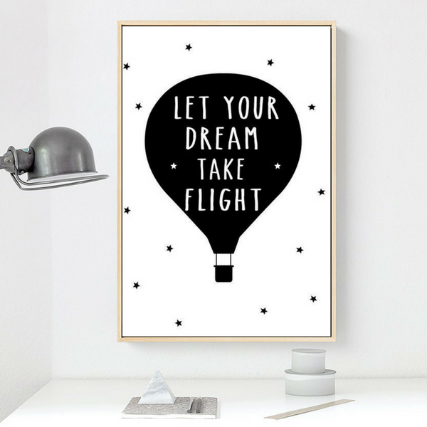 tableau déco toile maison chambre enfant poster let your dream take flight