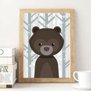 trendisy deco toile chambre enfant tableau animaux ours hiver