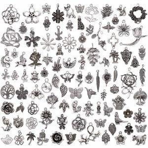 100 Pcs/Set Lots Tibetan Silver Mixed Styles Charms Pendants DIY Jewelry for Necklace Bracelet Making Accessaries #264833