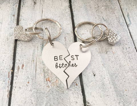 Best friends keychain - Hand stamped keychain - - Cozzoo