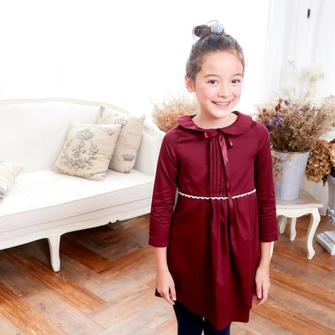 (Mommy & Me) Burgundy dress with ruffles - Cozzoo
