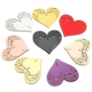 10Pcs Heart Wedding Name Place Cards  Wine Glass Laser Cut Pearlescent Card Party Accessories - Cozzoo