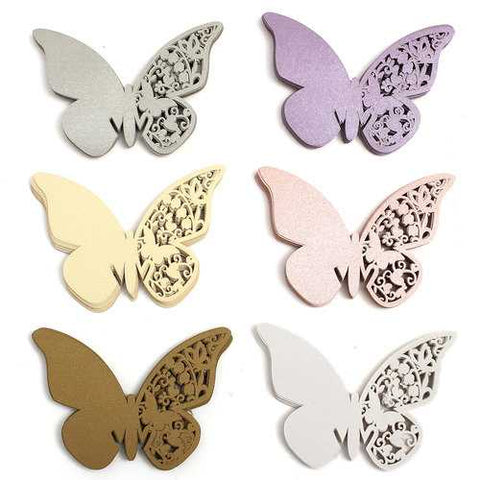 20Pcs Butterfly Wedding Name Place Cards Wine Glass Laser Cut Pearlescent Card Party Accessories - Cozzoo