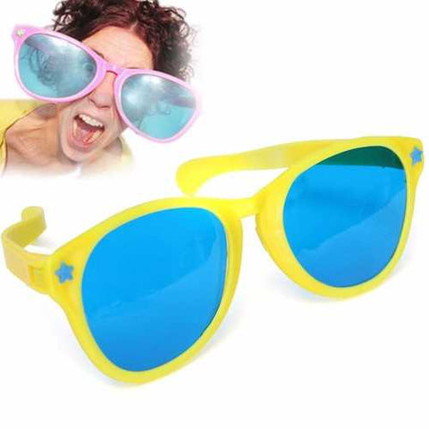 Large Coloured Comedy Funny Joke Glasses Sunglasses For Clown Gag Fancy Dress - Cozzoo