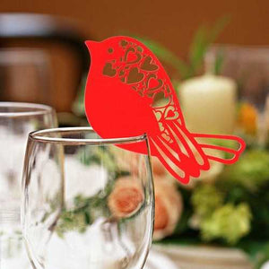 50Pcs Robin Bird Wedding Name Place Cards  Wine Glass Laser Cut Pearlescent Card Party Accessories - Cozzoo