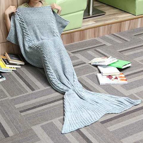 80x190CM Adult Yarn Knitted Mermaid Tail Blanket Handmade Crochet Throw Super Soft Sofa Bed Mat - Cozzoo