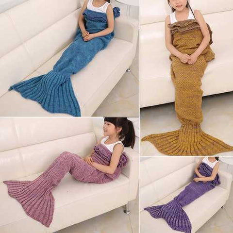 70x140cm Child Yarn Knitted Mermaid Tail Blanket Handmade Crochet Throw Super Soft Sofa Bed Mat - Cozzoo