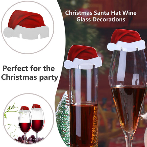 10pcs Santa Claus Hats Paper Wineglass Card Christmas Ornaments Wine Glass Card Xmas Decor Christmas Decorations For Home - Cozzoo