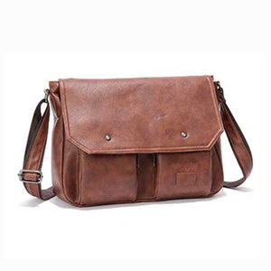 Men PU Leather Messenger Bag Large Capacity Business Shoulder Bag - Cozzoo