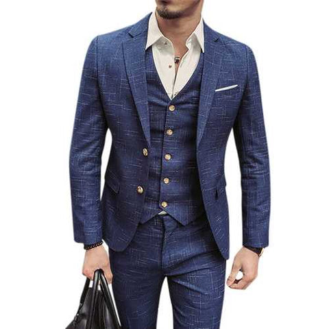 Mens Blue Plaid Fashion Slim Fit Blazer Groom Groomsmen Suit Three Pieces - Cozzoo