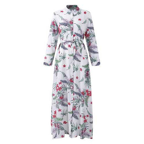 Bohemian Women Printed Long Sleeve Button Down Split Front Dress - Cozzoo