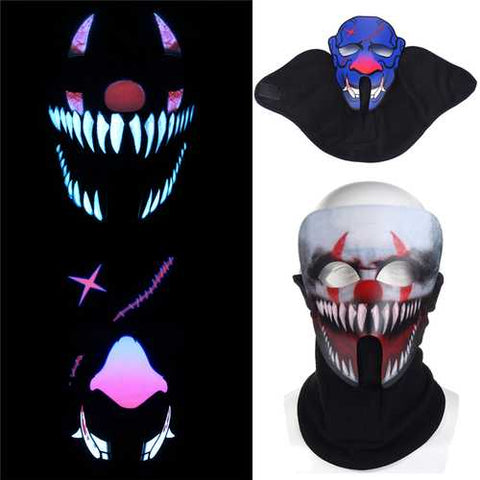 BIKIGHT Face Mask Light Up Flashing Luminous for Outdoor Cycling Halloween Party Costume Decoration - Cozzoo