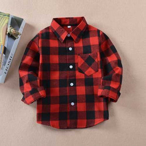 Kids Cotton Long Sleeve Button Down Plaid Shirts - Cozzoo