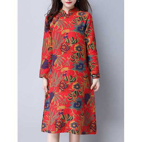 860cbcbb37 Chinese Style Women Floral Printed Long Sleeve Knee-Length Dress - Cozzoo