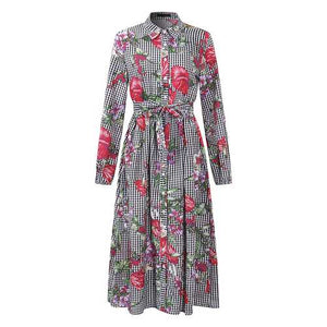 OEUVRE Women Long Sleeve Floral Printed Button Down Shirt Dress with Belt - Cozzoo