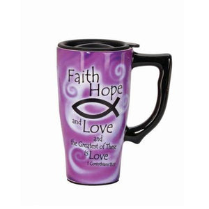 Faith Hope And Love Travel Mug - Cozzoo