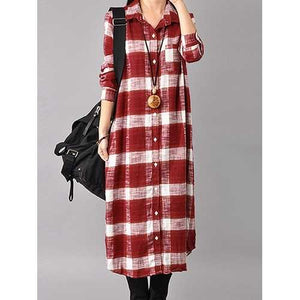 Women Button Down Plaid Shirt Dress - Cozzoo