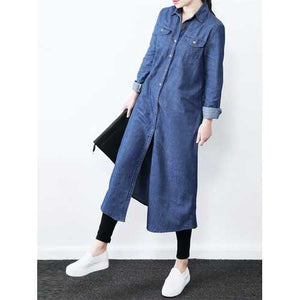 Women Long Sleeve Button Down Denim Shirt Dress - Cozzoo
