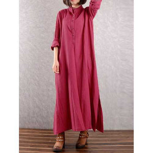 Women Long Sleeve Button Down Loose Maxi Dresses - Cozzoo