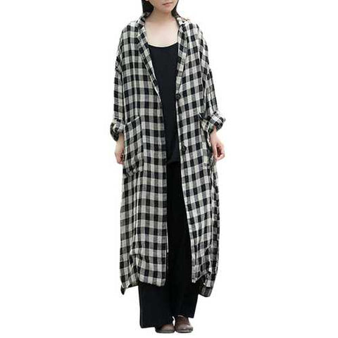 Women Plaid Lapel Button Down Long Maxi Coat Outwear - Cozzoo