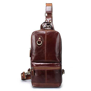 Genuine Leather Large Capacity Crossbody Bag Chest Bag - Cozzoo