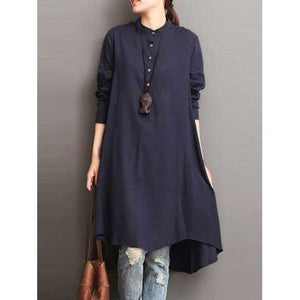 Women Button Down Baggy Blouse Loose Asymmetric Dress - Cozzoo