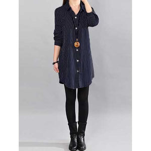 Women Casual Stripe Button Down Lapel Shirt Dress - Cozzoo