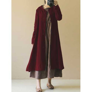 M-5XL Women Long Sleeve Button Down Long Maxi Coat - Cozzoo