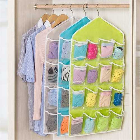 16 Pockets Multifunction Underwear Sorting Storage Bag Door Wall Hanging Closet Organizer Bag Space-Saving Underwear Storage Bags - Cozzoo