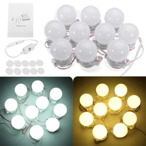 10 Pcs Hollywood Style LED Vanity Makeup Illuminated Dressing Table Mirror Light - Cozzoo