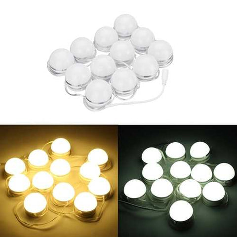12pcs LED Vanity Makeup Dressing Remote Control Mirror Light Bulbs Hollywood Style - Cozzoo