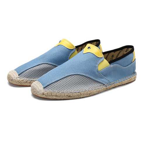Men Comfy Hand Stitching Canvas Cloth Espadrille Loafers - Cozzoo