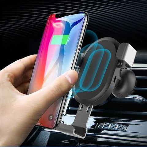 Qi Wireless 10W Fast Charging Gravity Auto Lock Car Phone Holder Stand for iPhone 8 X Mobile Phone
