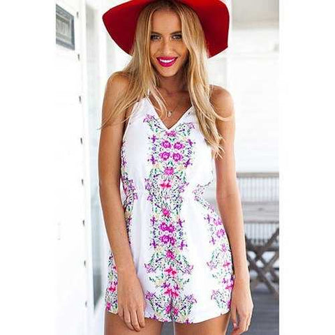 Stylish Halter Floral Print Women's Romper - Peach Red M - Cozzoo