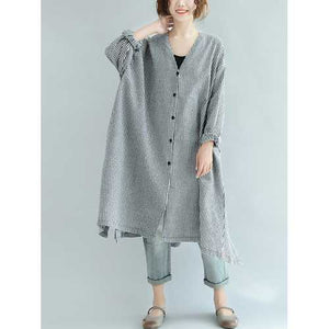 Women Check Button Down Long Shirt Dress - Cozzoo