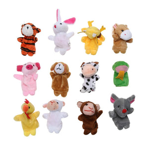 12pcs/Set Cartoon Biological Animals Finger Puppets Chinese Zodiac Plush Toys Lovely Baby Pretend Toys Birthday Xmas Gift