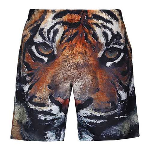 S5254 Beach Shorts Board Shorts 3D Tiger Head Printing Fast Drying Waterproof Elasticity Good Feel - Cozzoo