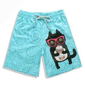 S5256 Beach Shorts Board Shorts 3D Camo Glasses Cat printing Fast drying waterproof Elasticity - Cozzoo