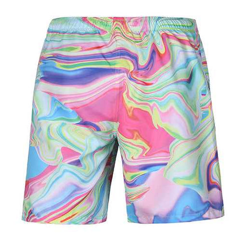 S52510 Beach Shorts Board Shorts 3D Magic Line Printing Fast Drying Waterproof Elasticity Peach Skin - Cozzoo