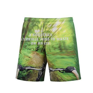 S5259 Beach Shorts Board Shorts 3D Green Forest Bicycle Printing Fast drying Waterproof Elasticity - Cozzoo
