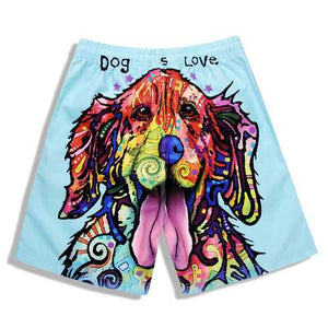 S5265 Beach Shorts Board Shorts 3D Love Dog Printing Fast Drying Waterproof Elasticity - Cozzoo
