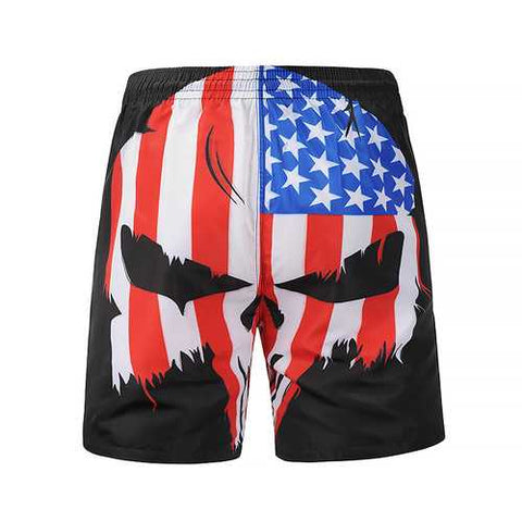 S5264 Beach Shorts Board Shorts 3D Skull Printing Fast Drying Waterproof Elasticity - Cozzoo
