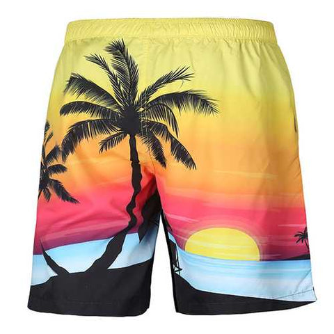 S52513 Beach Shorts Board Shorts 3D Coconut Tree Sunset Printing Fast Drying Waterproof Elasticity - Cozzoo