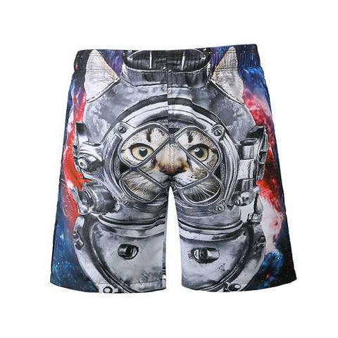 S5266 Beach Shorts Board Shorts 3D Astronaut Space Cat Printing Fast Drying Waterproof Elasticity - Cozzoo