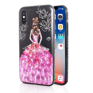Bakeey 3D Painting Protective Case For iPhone X/8/8 Plus/7/7 Plus/6s Plus/6 Plus/6s/6 Pink Dress Glitter Bling - Cozzoo