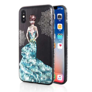 Bakeey 3D Painting Protective Case For iPhone X/8/8 Plus/7/7 Plus/6s Plus/6 Plus/6s/6 Blue Dress Glitter Bling - Cozzoo