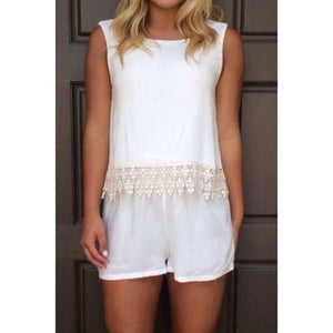 Fashionable Jewel Neck Backless Lace Splicing Sleeveless Romper For Women - White M - Cozzoo