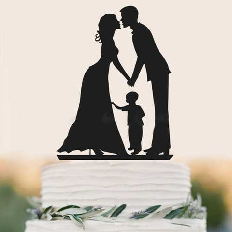 Family Style Topper Bride and Groom Rustic Wood Wedding Cake Toppers with Kids Boy Cake Decorations - Cozzoo